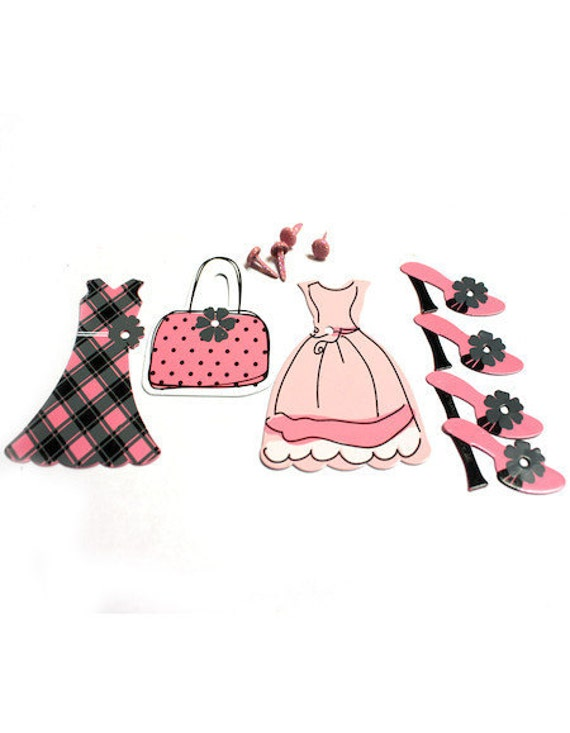 BRADS / Scrapbook Card Mixed Media Art Supplies / Purse Dress Shoe / Pink and Black / French