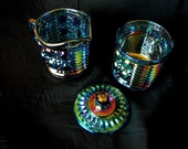 Indiana Glass Windsor Blue Carnival Glass Cream and Sugar Set