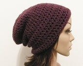 LazyDay Slouch Beanie - Eggplant - made to order