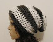 LazyDay Slouch Beanie - Gray and White Stripes - made to order