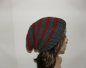 Everyday Extra Slouch Hat - Gray and Red stripes - made to order - long slouch hat