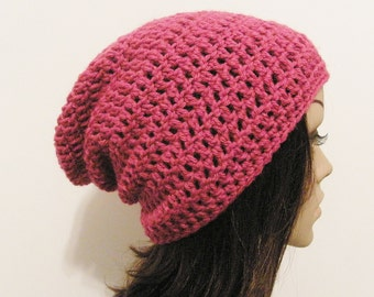 LazyDay Slouch Beanie - Berrylicious - made to order