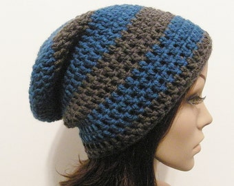 LazyDay Slouch Beanie - Sapphire Gray Stripes - made to order