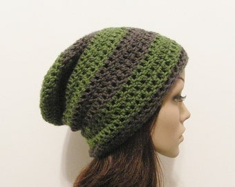 LazyDay Slouch Beanie - Green Gray Stripes - made to order
