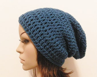 LazyDay Slouch Beanie - Sapphire - made to order