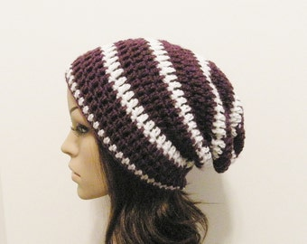 LazyDay Slouch Beanie - Eggplant White Stripes - made to order