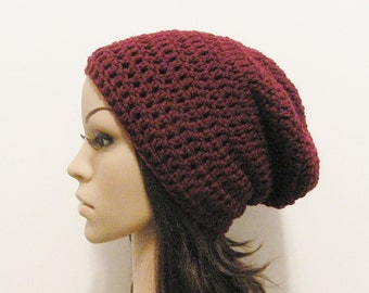 LazyDay Slouch Beanie - Merlot - made to order
