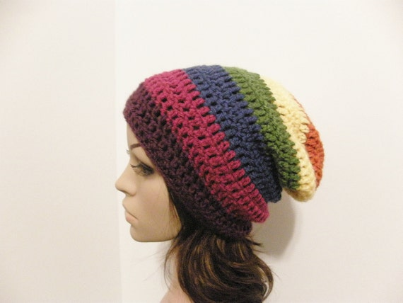 LazyDay Slouch Beanie - ROY G. BIV - made to order