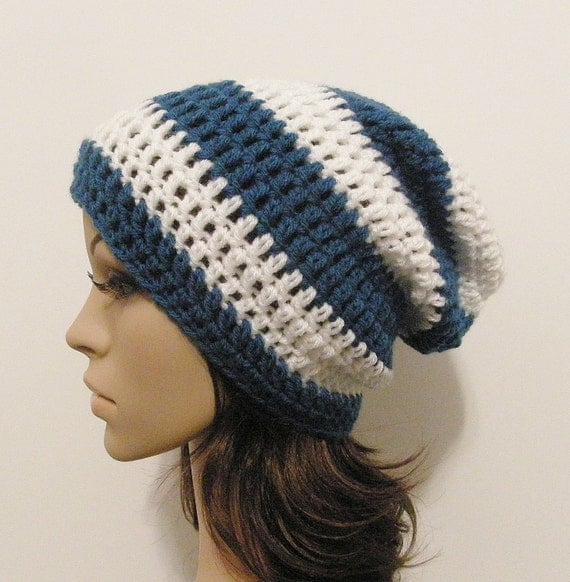 LazyDay Slouch Beanie - Sapphire and White Stripes - made to order