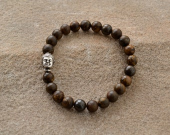 Bronzite Silver Buddha Beaded Bracelet