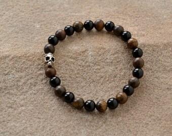 Onyx, Bronzite Day of the Dead Skull Bracelet
