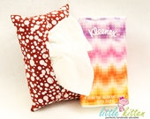 Fabric Tissue Holder Travel Size Red and White Bubbles