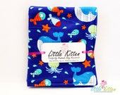 Travel Changing Pad - Sea Creatures Flannel and Yellow Fleece