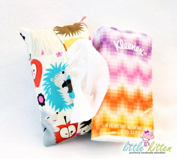 Fabric Tissue Holder Travel Size Michael Miller Hedgehog Meadow in Cream