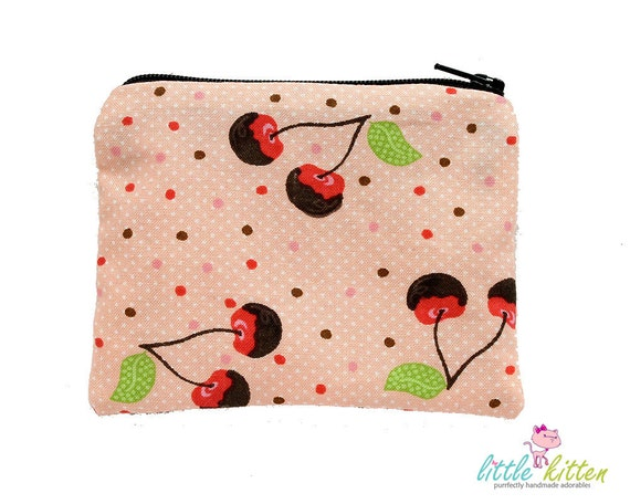 Small Zipper Pouch Change Purse - Rockabilly Cherry FREE USA SHIPPING