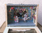 Shadow Box Diorama - Queen with no kingdom meets rabbit with no name.