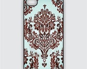 Rubber iPhone 4 Case - Pretty Blue Damask