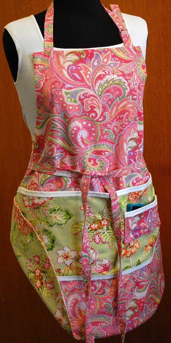 Reversible Apron  in pinks and florals