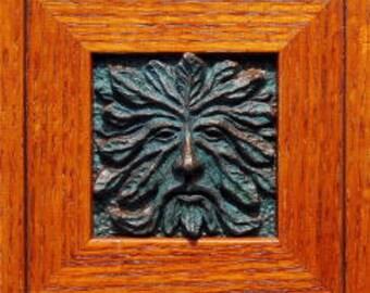 "Greenman, Framed tile, Green Man Tile with Mission Oak Frame, unique framed GreenMan wall art, the 4""x4"" greeman tile frame, rustic wall art"