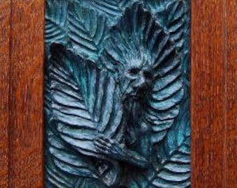 Beech Faun / Tree Spirit tile with Mission fumed white Oak Frame, framed tree spirit, Greenman