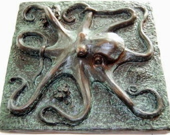 "Octopus, Octopus tile or plaque. 8""x8"" Kraken tile, unique Octopus art for the wall or shelve, octopus in aged bronze, Nautical home decor"