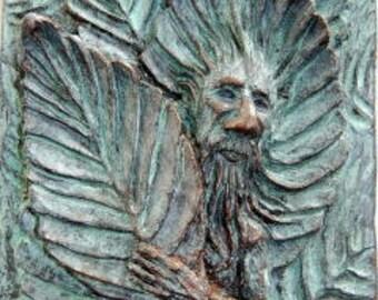 Beech Faun, Tree Spirit Tile, Wood sprit tile or plaque, nature spirit wall art, greenman home decor, green man, Medieval nature cottage