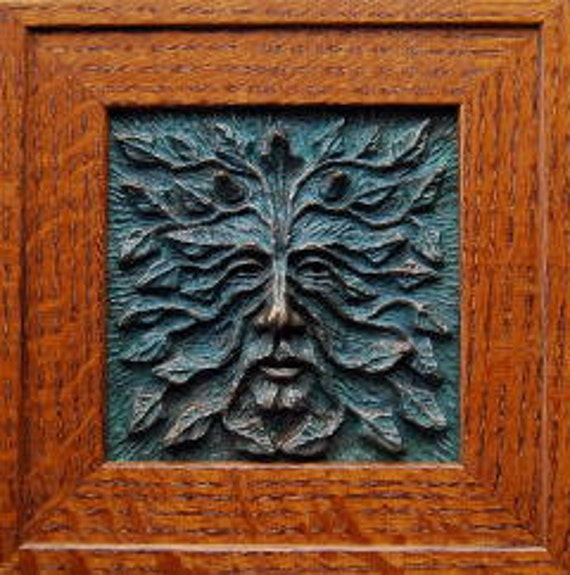 Woodman /Greenman Tile 6x6, Mission Oak Frame, Green man, framed greenman, wall art, Home decor, Nature spirit, leafman, wood wall art