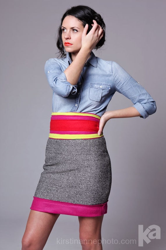 Color Block Sparkle tweed & pink wool felt pencil skirt MADE TO ORDER