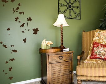 Falling Leaves Wall Decal-Nature Wall Decal, Autumn Wall Art, Falling Leaves, Windy Tree, Maple Leaf Decal, Fall Wall Art, Maple Leaf Art