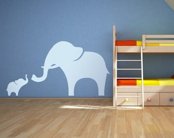 Mama and Baby Elephant Wall Decal - Elephant Wall Sticker, Baby Elephant Nursery, Nursery Decal Sticker, Elephant Wall Decor, Mom Elephant