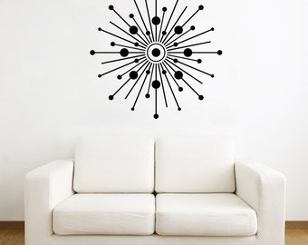 Starburst with Circles Wall Decal - Abstract Decal, Geometric Wall Decal, Abstract Nursery, Starburst Art, Star Wall Decal, Sunburst Decal