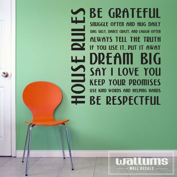 House Rules Vinyl Wall Decal Sticker - Family Rules Decal, Motivational Wall Quote, Family Wall Sticker, Living Room Wall Decal, House Decal