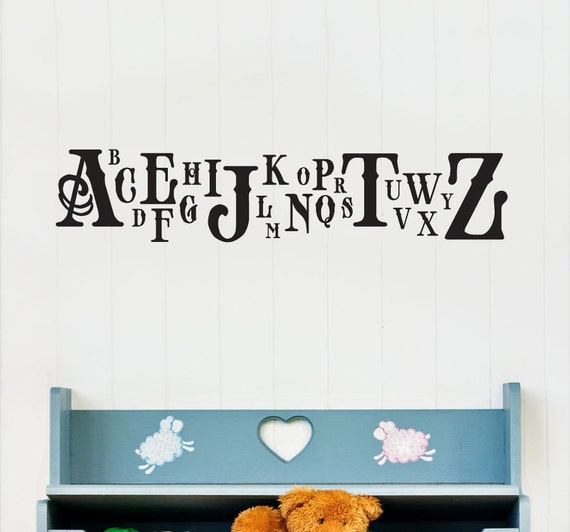 Classic Caps Alphabet Wall Decal - Alphabet Decal, Nursery Alphabet Art, Children Room Decal, ABC Decal, Typography Decal, Educational Decal