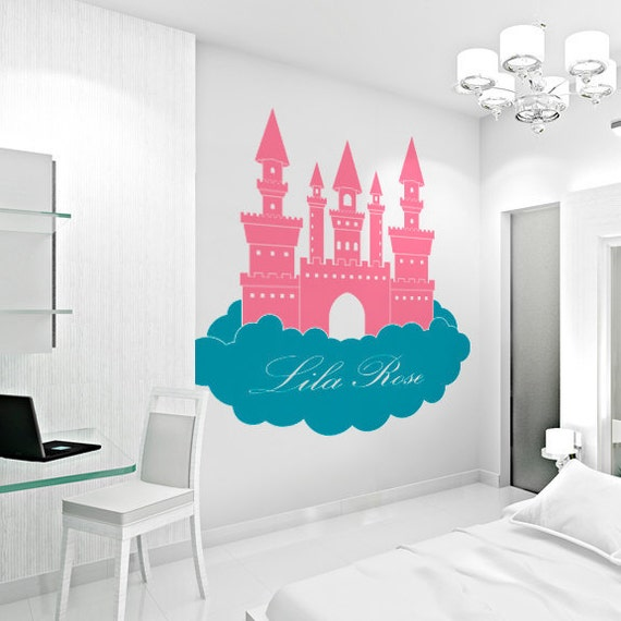 Princess Castle in Clouds-Custom Name Wall Decal, Nursery Vinyl Decal, Castle Decal, Princess Nursery, Castle Wall Art, Fairy Wall Decal