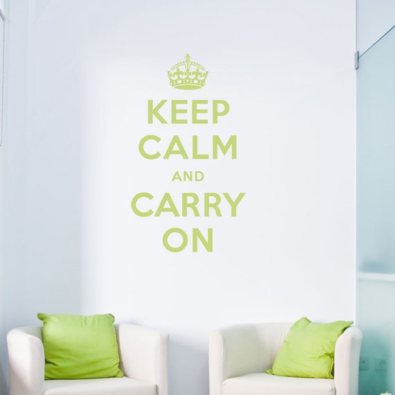 """Keep Calm and Carry On Decal 28"""" x 48"""" - Keep Calm Quote, Keep Calm Decal, Keep Calm And Carry On Art, Calm Wall Art, Crown Wall Decal"""