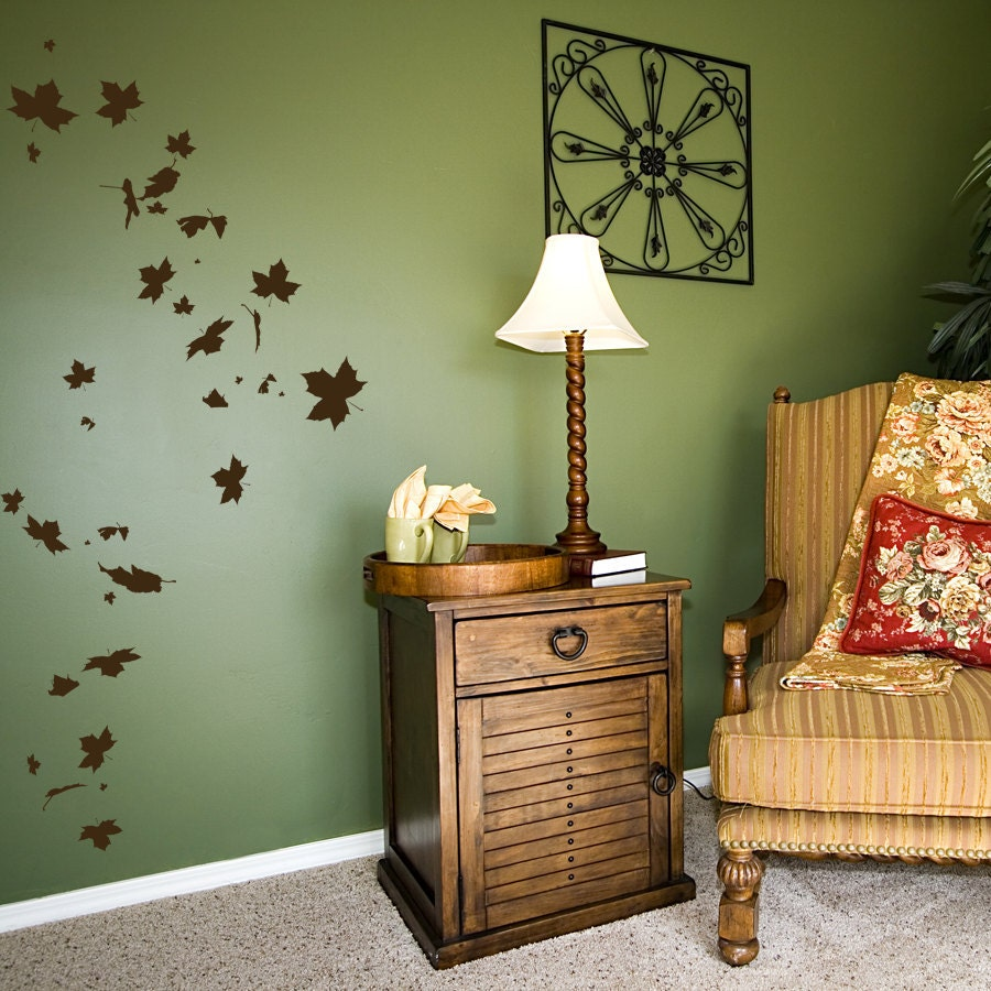Falling Leaves Wall Decor : Falling leaves wall decal nature autumn art