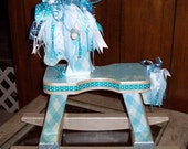 Free Shipping - Sparkley Tuquoise and White WOODEN  ROCKING HORSE with Ribbon Mane