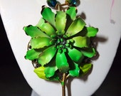 Lime Green and GOLD VINTAGE ENAMEL Flower Necklace with Matching Earrings