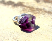 OOAK Chunky Fluorite wire wrapped ring - Silver plated purple and green stone ring - Any size