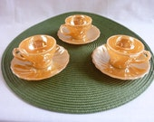 Fireking, Peach Lustre, Cup and Saucer, 3 sets, Anchor Hocking