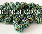 NEW Bling Hoops 50 pcs Green Resin Beads 14mm BBW