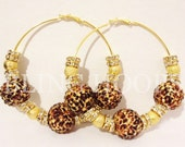 NEW Bling Hoops Gold Cheetah Jungle Earrings Basketball Wives Poparazzi Love and Hip Hop Leopard