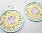 Handmade hoop tatted earrings in pastel yellow, pink and green