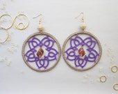 Handmade hoop tatted earrings in purple and beige