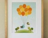 Balloons and Birds . Baby Nursery Wall Art .  Children Wall Art