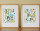 Alphabet Number Animals Nursery Wall Art Print, Baby Boy, Kids Room Decor Poster, Set of two