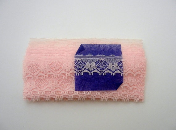 RESERVED for Daiva Vintage Pink Cotton Flat Lace Trim - 10 Yards