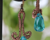 Copper earrings, antique color