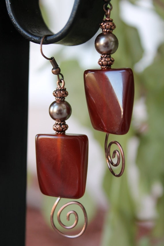 Agate earrings, red earrings