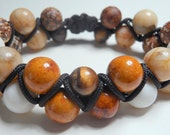 Stretchy Brown White and Tan Bracelet - FluxINTL
